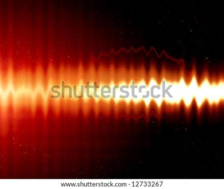 bright sound wave on a black background - stock photo
