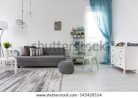 Bright Spacious Living Room Comfortable Couch Stock Photo (Royalty ...