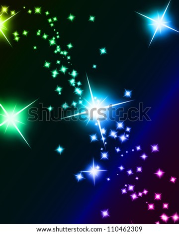 Bright sparkling background with several glowing and twinkling stars - stock photo