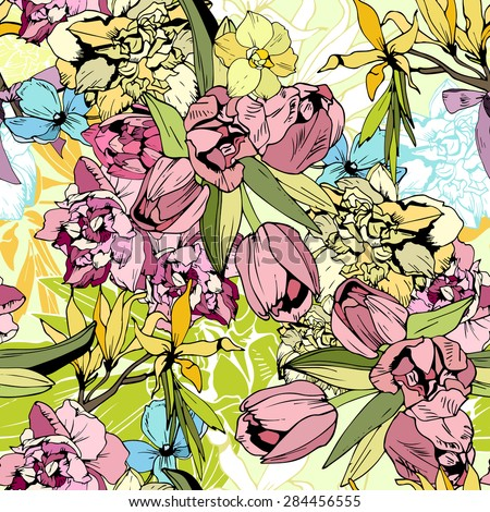 Bright spring flowers, seamless pattern hand drawn - stock photo