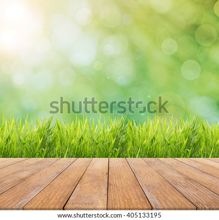 Bright spring or summer with nature grass field background and wooden floor - stock photo