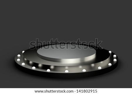 Bright stage with lights - isolated - stock photo