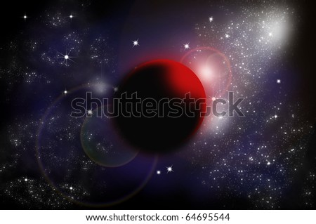 Bright star and planet in space