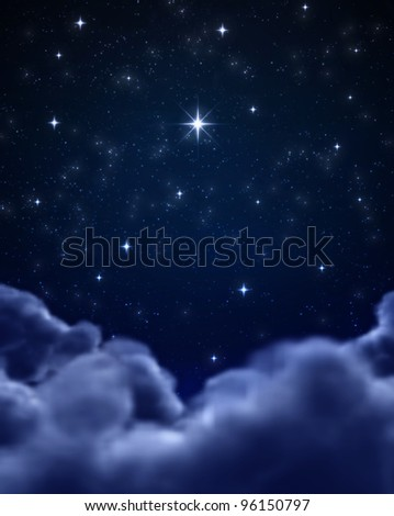 bright star in night sky or space - stock photo
