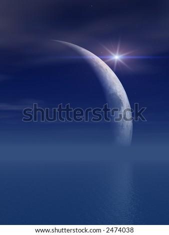 Bright Star Over Moon Over Misty Sea - stock photo