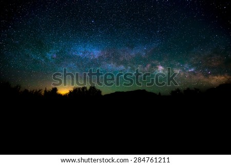 Bright Starry Night with beautiful Milkyway - stock photo