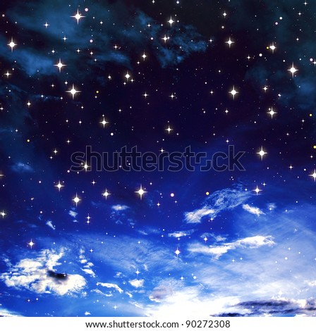 Bright stars in the blue cloudy sky - stock photo