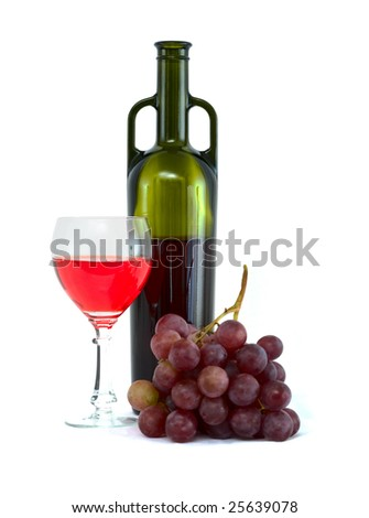 Bright still life with grapes and wine on white - stock photo