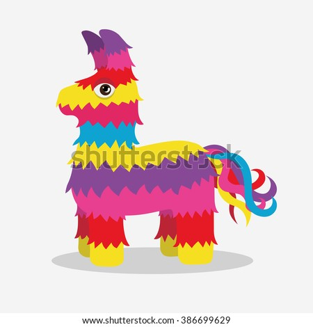 Bright striped colorful pinata isolated on white background