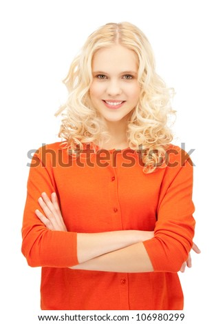 bright studio picture of beautiful pensive teenage girl - stock photo