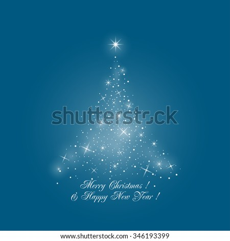Bright Stylized Christmas Tree of Lights on Blue Background ,  Merry Christmas and Happy New Year - stock photo