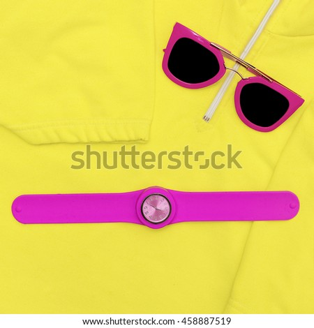 Bright Summer Accessories. Sunglasses and Watches. Love Pink - stock photo