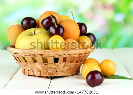 Bright summer fruits in basket on wooden table on natural background - stock photo