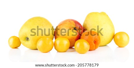 Bright summer fruits isolated on white
