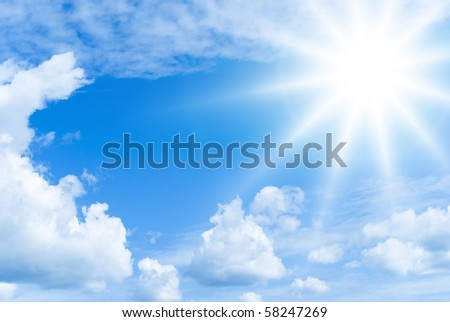 Bright summer sun and clouds