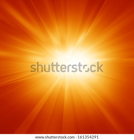 Bright summer sun on a orange and yellow background - stock photo