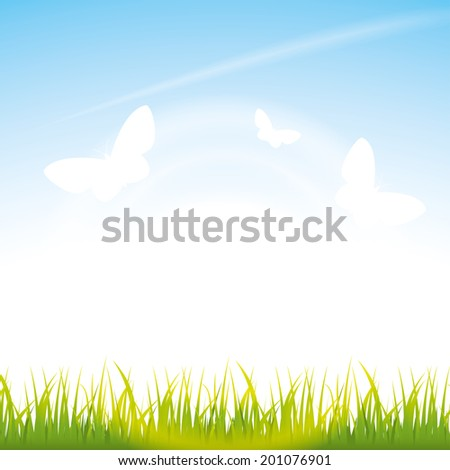 bright summer sunrise with green grass, blue sky, flittering butterflies  illustration.(rasterized version) - stock photo