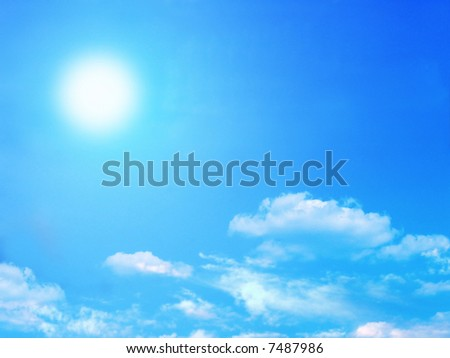 Bright sun and fluffy clouds - stock photo