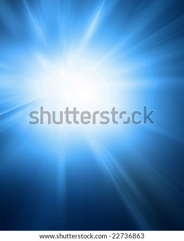 bright sun on a soft blue background
