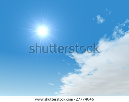 Bright sun with blue sky and large cloud.