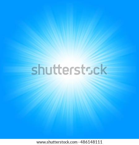 Bright sunbeams, shiny summer background with vibrant blue color tones.