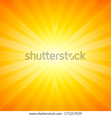Bright sunbeams, shiny summer background with vibrant yellow & orange colors. Perfect light striped background - stock photo