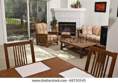 Bright, sunny, California condo livingroom.  The wall art (photos) are the photographer's work and are included in the release. - stock photo