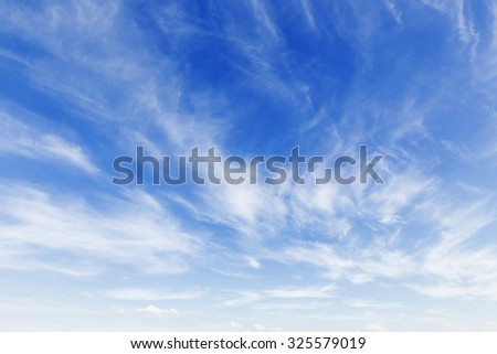 Bright sunny day with clouds. Cloudscape on blue sky. Soft focus. - stock photo