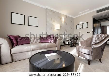 Bright sunny living room interior - stock photo