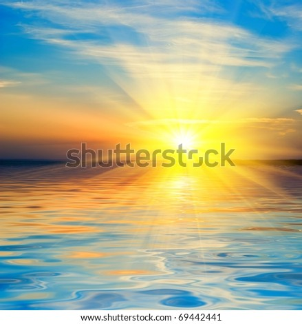bright sunrise on a river - stock photo