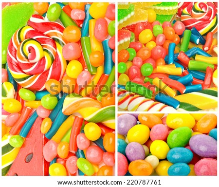 Bright sweets, lollipops, dragee, candies and jelly sweets. collage - stock photo