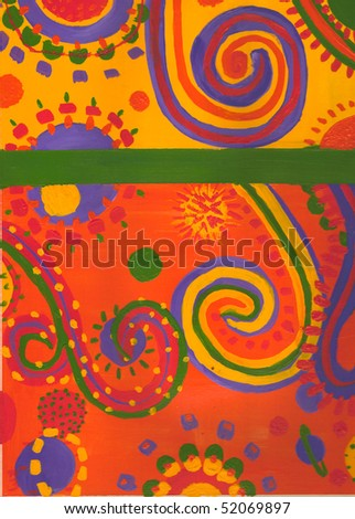 Bright swirls, dots and shapes on a yellow and orange background. - stock photo