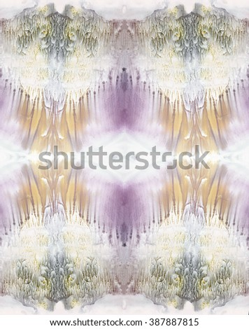 Bright symmetric backdrop. Orange and purple watercolor. Abstract painting. - stock photo