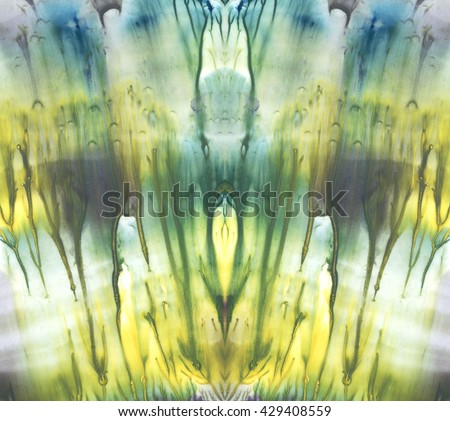 Bright symmetric background. Blue, violet and yellow pigments. Abstract watercolor painting. - stock photo