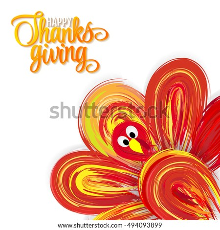 Bright Thanksgiving  card with a turkey and lettering