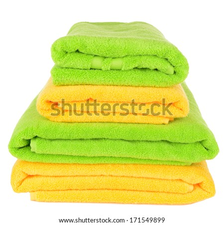 Bright towels isolated on white