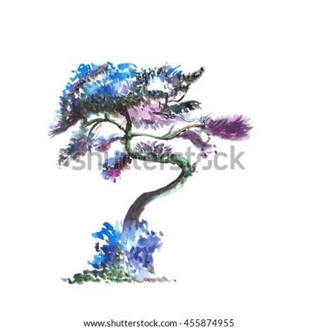 bright tree,watercolor ,fairy tale tree - stock photo