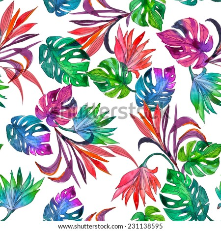bright tropical pattern with exotic flowers and leaves isolated on white - stock photo