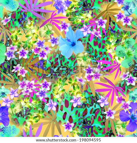 Bright Tropical print ~ seamless background tile - stock photo