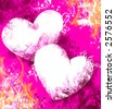 Bright Valentine background with hearts. Pink and purple grunge. - stock photo