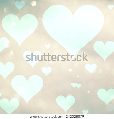 Bright Valentine's day greeting card illustration with hearts symbol on abstract blurred bokeh light background.  - stock photo