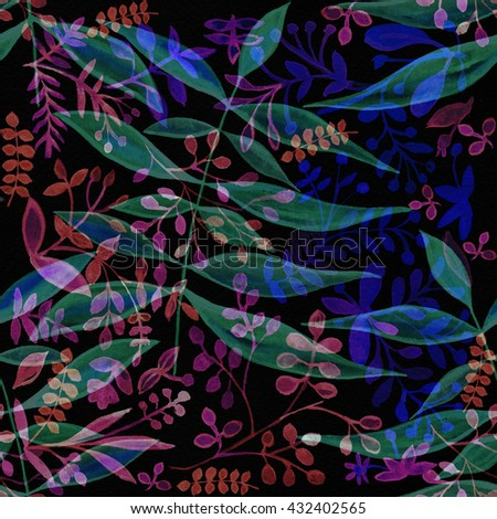 Bright vegetable ornament on a black background. Water color painting for fabric. A seamless surface for exotic design. blue, pink, black. Watercolor tropical background. Fashionable colors of 2016. - stock photo
