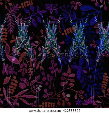 Bright vegetable ornament on a black background. Water color painting for fabric. A seamless surface for exotic design. blue, pink, black. effective tropical background. Fashionable colors of 2016 - stock photo