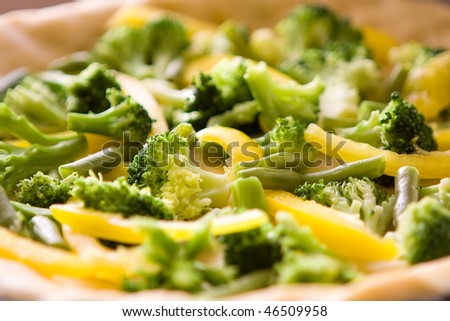 bright vegetables including pepper and broccoli