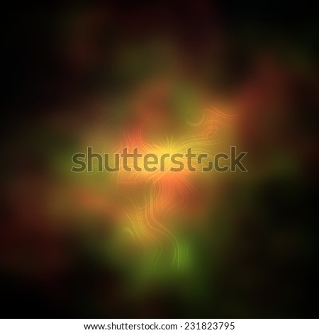 Bright vivid colorful explosion in dark space, huge misty energy release in black background - stock photo