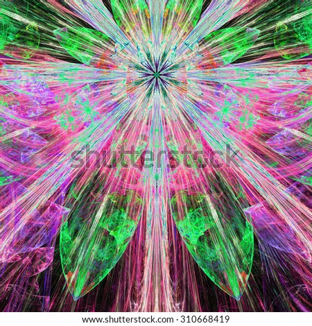 Bright vivid pink,cyan,green exploding flower/star fractal background with a detailed decorative pattern, all in high resolution. - stock photo
