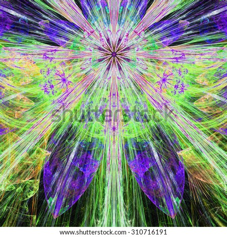 Bright vivid pink,purple,green,yellow exploding flower/star fractal background with a detailed decorative pattern, all in high resolution. - stock photo