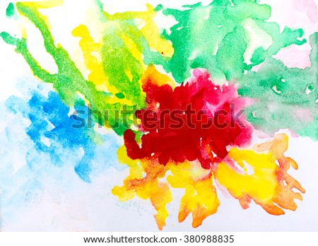 Bright watercolor stains ,spot colorful Abstract watercolor art hand paint on white background , art abstract bright rainbow , art abstract grunge paper textured