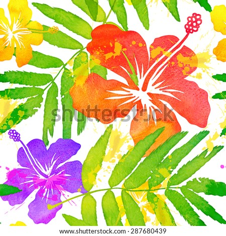 Bright watercolor tropical flowers seamless pattern tile - stock photo