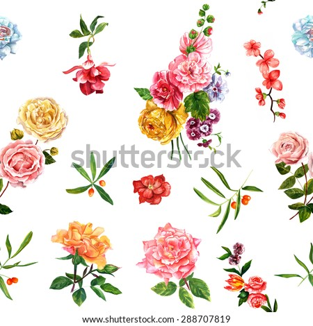 Bright watercolour roses, leaves and berries seamless background pattern - stock photo